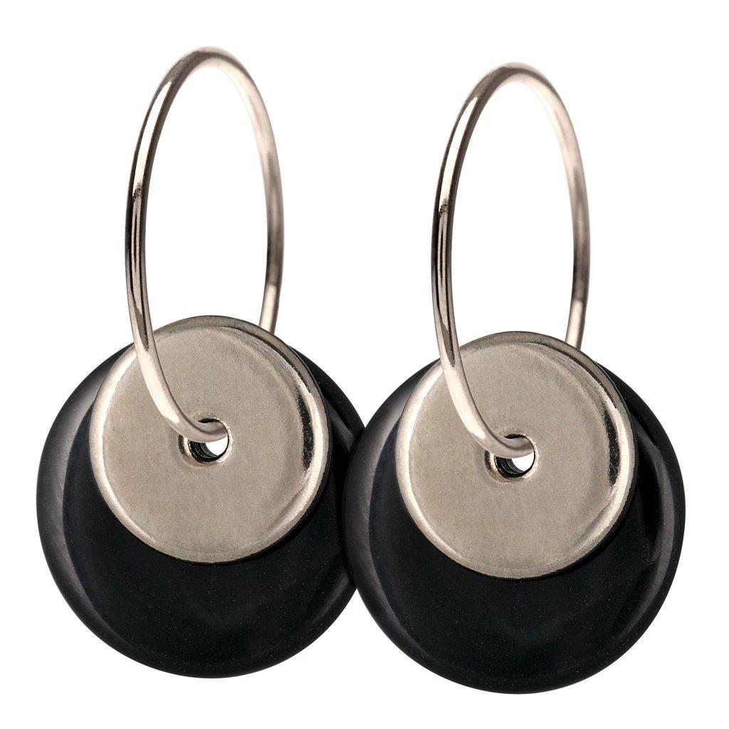 HALO øreringe, dobbelt - BLACK/SILVER til 399,- kr. hos Designogknive.dk fra Mette Scherning