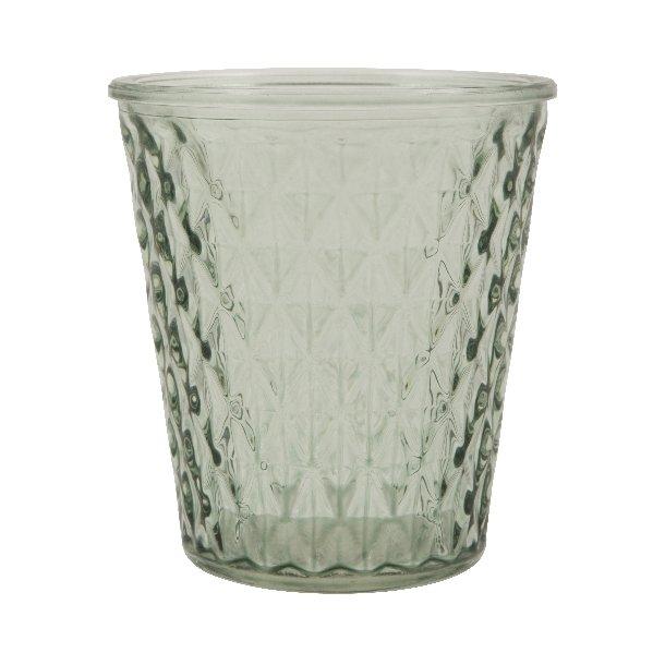 Vase m/tern glas transparent grøn