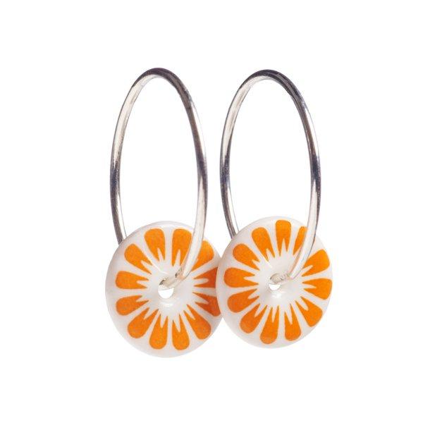 Scherning BLOOM Øreringe sølv/orange