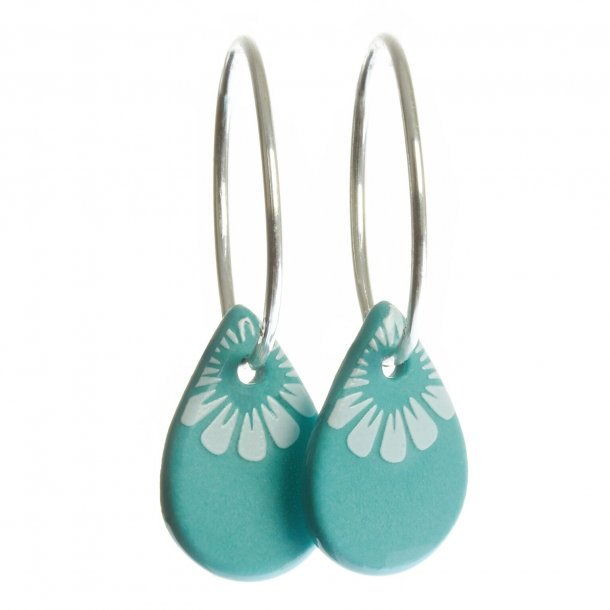 Scherning BLOOM teardrop øreringe - DOVE BLUE